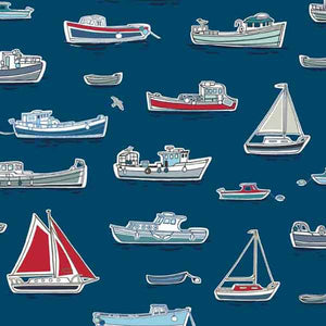 Dark Blue Boats Cotton Fabric by Makower 1768/B part of their Marina Collection