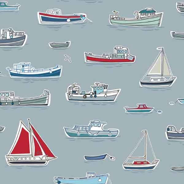 Silver Boats Cotton Fabric by Makower 1768/S part of their Marina Collection - Fabric and Ribbon