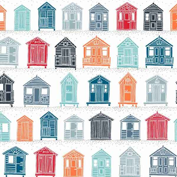 White Beach Huts Cotton Fabric by Makower from their Marina Collection, Coloured Beach Huts on White Cotton Fabric
