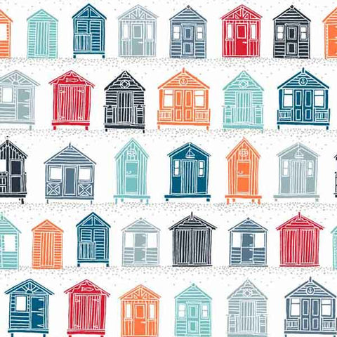 Beach Huts Cotton Fabric by Makower from their Marina Collection, Coloured Beach Huts on White Cotton Fabric