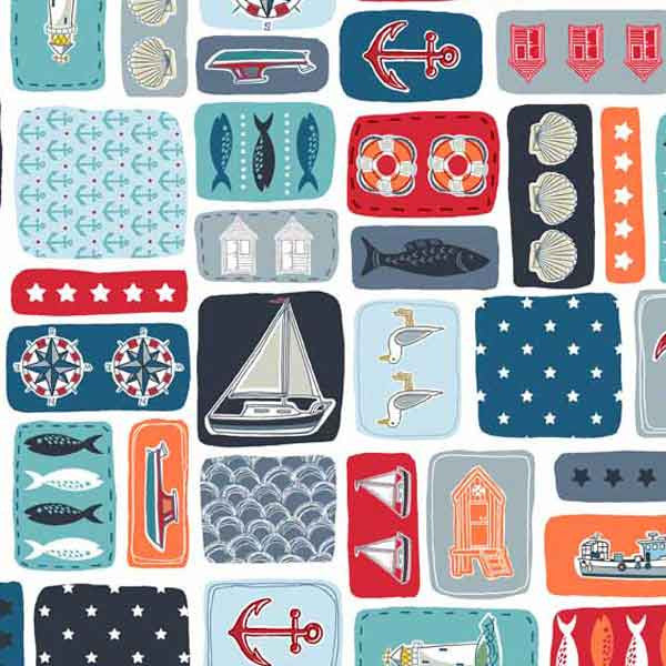 Seaside Fabric, Sea Montage Cotton Fabric by Makower from their Marina Collection,