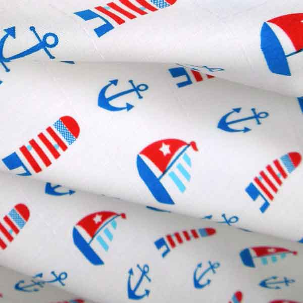 White Nautical Cotton Fabric by Rose & Hubble, Kid's Red and Blue Boats, Anchors and Lighthouses