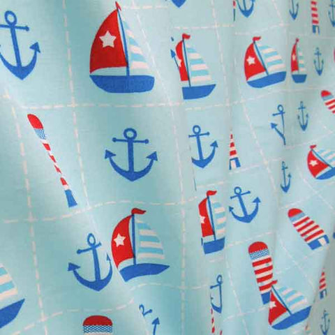 Blue Nautical Cotton Fabric by Rose & Hubble, Kid's Red and Blue Boats, Anchors and Lighthouses