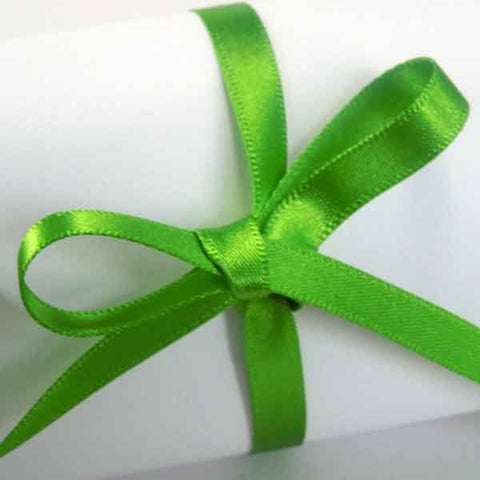 7 mm Meadow Green Double Sided Satin Ribbon, Green Plain Narrow Fabric Ribbon - Fabric and Ribbon
