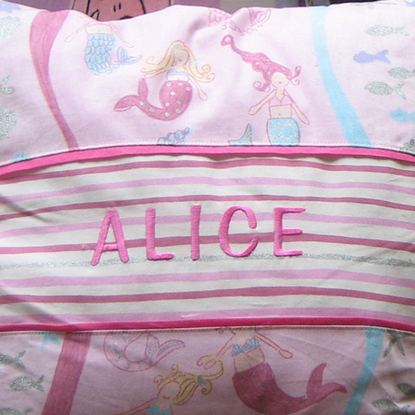 Kid's Pink Mermaid Personalised Cushion, Child's Cushion Handmade in Pink Cotton, 21 inch x 21 inch, 53 cm x 53 cm