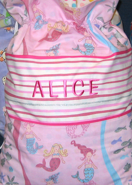 Girl's Pink Mermaid Personalised Toy Sack, Reversible Kid's Mermaid Drawstring Storage Bag