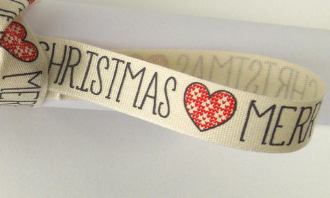 15 mm Cream Merry Christmas Christmas Cotton Ribbon, 5/8 inch Cream, Black and Red Merry Christmas Cotton Tape
