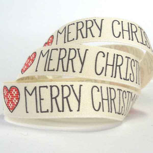 15 mm Cream Merry Christmas Christmas Cotton Ribbon, 5/8 inch Merry Xmas Cotton Tape - Fabric and Ribbon