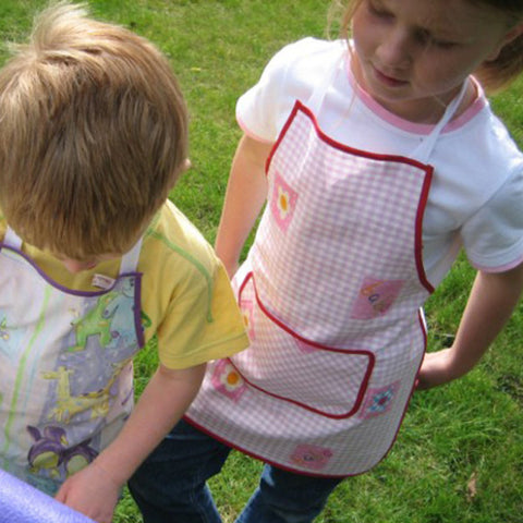Girl's Pink Gingham and Hearts Kid's Apron, Personalised or Non Personalised Toddler's Gingham CottonApron with Pocket, Ages 2 - 6 yrs