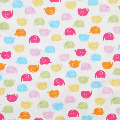 Baby White Elephant Cotton Fabric by Rose & Hubble, Child's Coloured Elephants on White Cotton Poplin Fabric