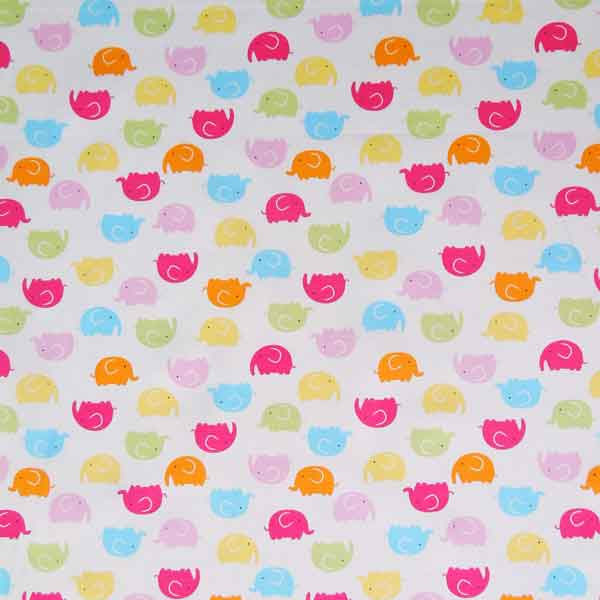 Pink and Blue Elephant Cotton Fabric by Rose & Hubble, Child's Coloured Elephants on White Cotton Poplin Fabric