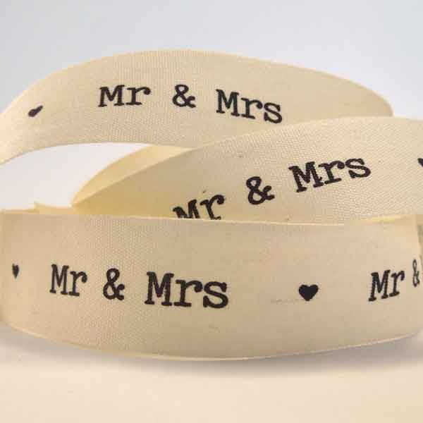 22 mm Mr & Mrs Cream Wedding Ribbon, 7/8 inch Black on Cream Cotton Wedding Tape - Fabric and Ribbon