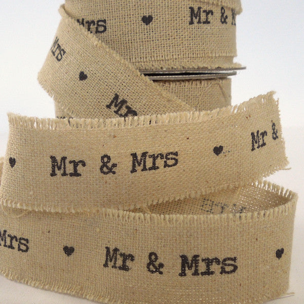 22 mm Mr & Mrs Linen Wedding Ribbon, 7/8 inch Frayed Edge Linen and Cotton Wedding Tape