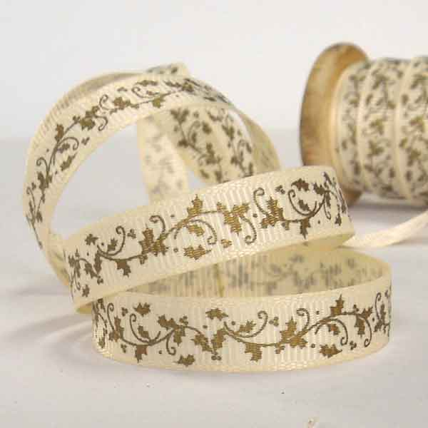 10 mm Christmas Gold Holly Garland Ribbon on a Wooden Spool, 3 Metres of 3/8 inch Xmas Gold Leaves and Berries Ribbon on Wooden Bobbin