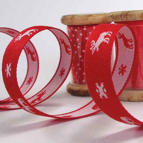 13 mm Xmas Red with White Reindeer Ribbon on a Wooden Spool, 3 Metres Red Reindeer Ribbon - Fabric and Ribbon