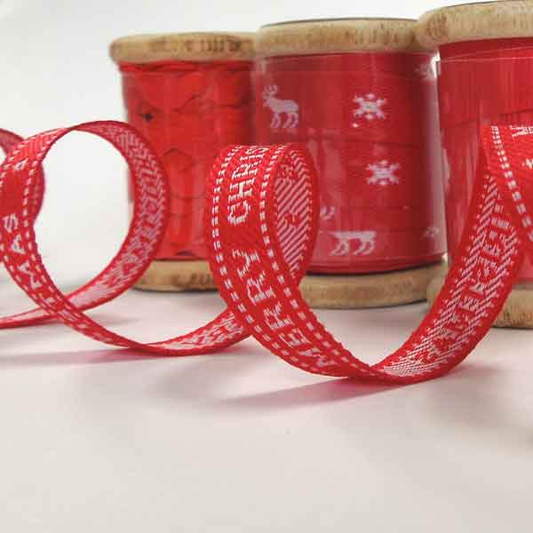 10 mm Merry Christmas Red Ribbon on a Wooden Spool, 3 Metres of 3/8 inch Red and White Merry Christmas Ribbon on Wooden Bobbin
