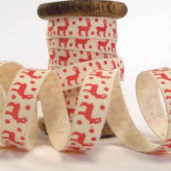 10 mm Xmas Red Reindeer Trim on Wooden Spool, 3 Metres of 3/8 inch Little Red Reindeer Cotton Ribbon on Wooden Bobbin