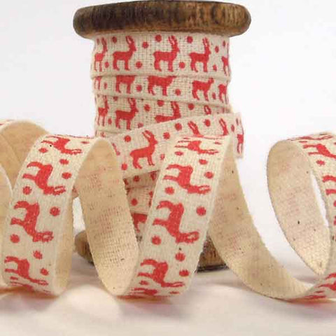 10 mm Xmas Red Reindeer Cotton Ribbon on Wooden Spool, 3 Metres Christmas Reindeer Ribbon