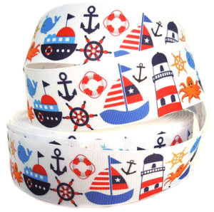 1.5 inch Seaside Icons on White Grosgrain Tape