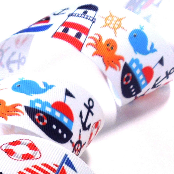 38 mm Kid's Nautical Grosgrain Ribbon, 1.5 inch Seaside Icons on White Grosgrain Tape
