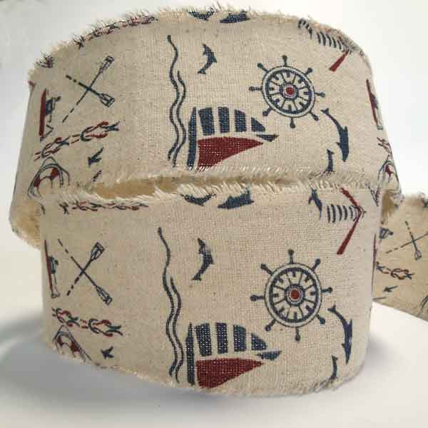 60 mm Nautical Printed Hessian Ribbon, 2 and 1/4 inch Frayed Edge Blue and Red Nautical Pattern on Natural Coloured Burlap - Fabric and Ribbon