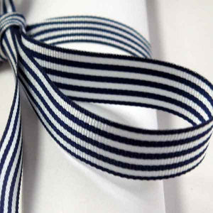 9 mm Navy Blue Striped Ribbon. 3/8 inch Dark Blue and White Striped Ribbon