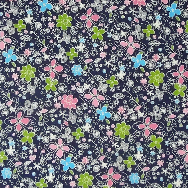 Dark Blue Flower Cotton Fabric, Blue Pure Cotton Fabric with Pink, Light Blue and Green Flowers