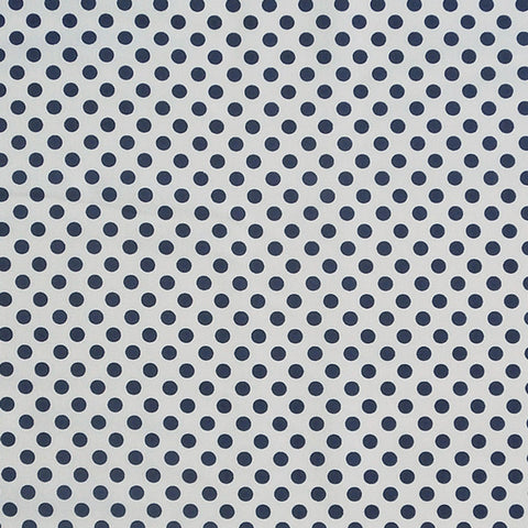 Navy Blue on White Polka Dot Cotton Fabric by Riley Blake, Blue and White Dotty Fabric