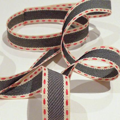 Navy Blue and Red 15mm Woven Stitched Fabric Ribbon