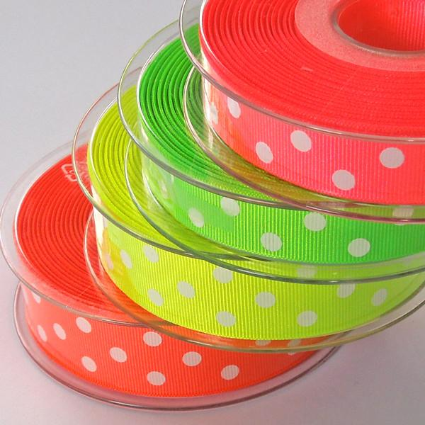 16 mm Neon Green Polka Dot Ribbon, 5/8 inch Fluorescent Green and White Polka Dot Ribbon