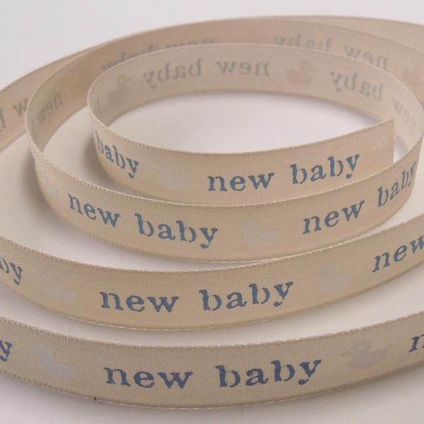15 mm Blue New Baby Ribbon, 5/8 inch Baby Boy Pale Blue Duck Ribbon, Christening Ribbon - Fabric and Ribbon