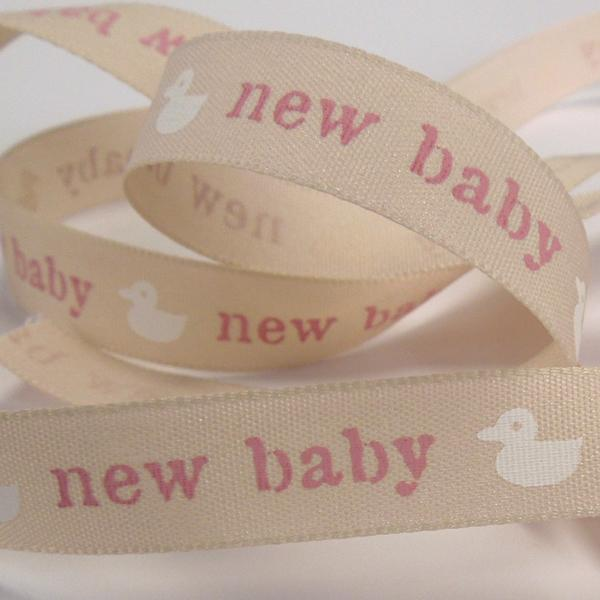 15 mm Pink New Baby Ribbon, 5/8 inch Baby Girl Pale Pink Duck Ribbon, Christening Ribbon