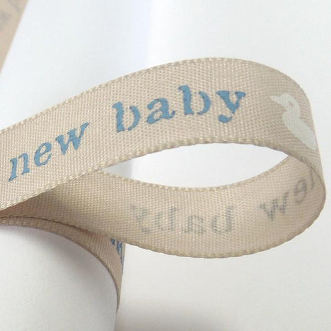 15 mm Blue New Baby Ribbon, 5/8 inch Baby Boy Pale Blue Duck Ribbon, Christening Ribbon
