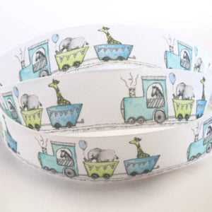 25 mm White Baby Train Ribbon, 1 inch Baby Toy Train and Zoo Animals Fabric Ribbon - Fabric and Ribbon