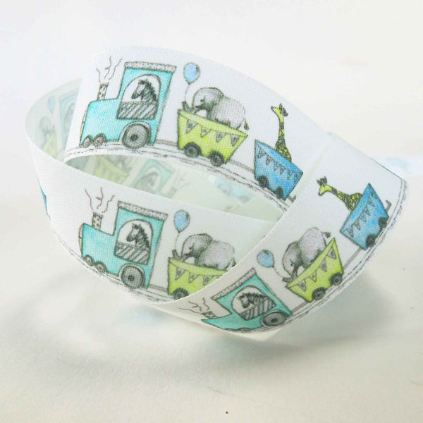 25 mm White Baby Train Ribbon, 1 inch Baby Toy Train and Zoo Animals Fabric Ribbon