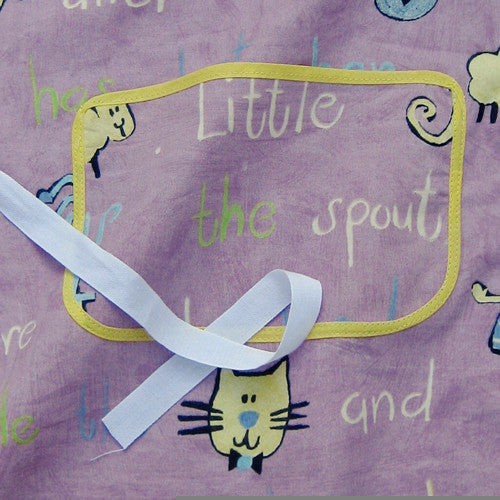 Toddler's Lilac Nursery Rhymes Personalised Apron with Pocket, Handmade, Ages 2 - 6 yrs - Fabric and Ribbon