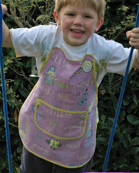 Toddler's Nursery Rhymes Apron,Young Child's Personalised or Non Personalised Lilac Cotton Apron with Pocket, Ages 2 - 6 yrs