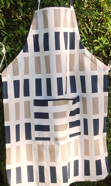 Adult Blue Rectangles Personalised Apron with Pocket, Handmade in Cotton - Fabric and Ribbon