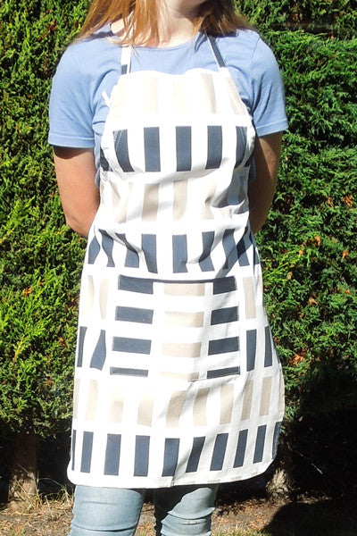 Personalised Ladies Blue Rectangles Cotton Apron, Adult's Blue and Brown Rectangles Apron with Pocket