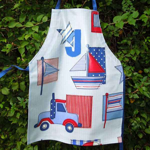Child's Blue Sail Boat and Truck Oilcloth Apron, Monogram, Handmade  Wipe Clean Apron, Ages 2 - 6 yrs