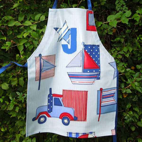 Child's Blue Sail Boat and Truck Oilcloth Apron, Monogram, Handmade  Wipe Clean Apron, Ages 2 - 6 yrs - Fabric and Ribbon