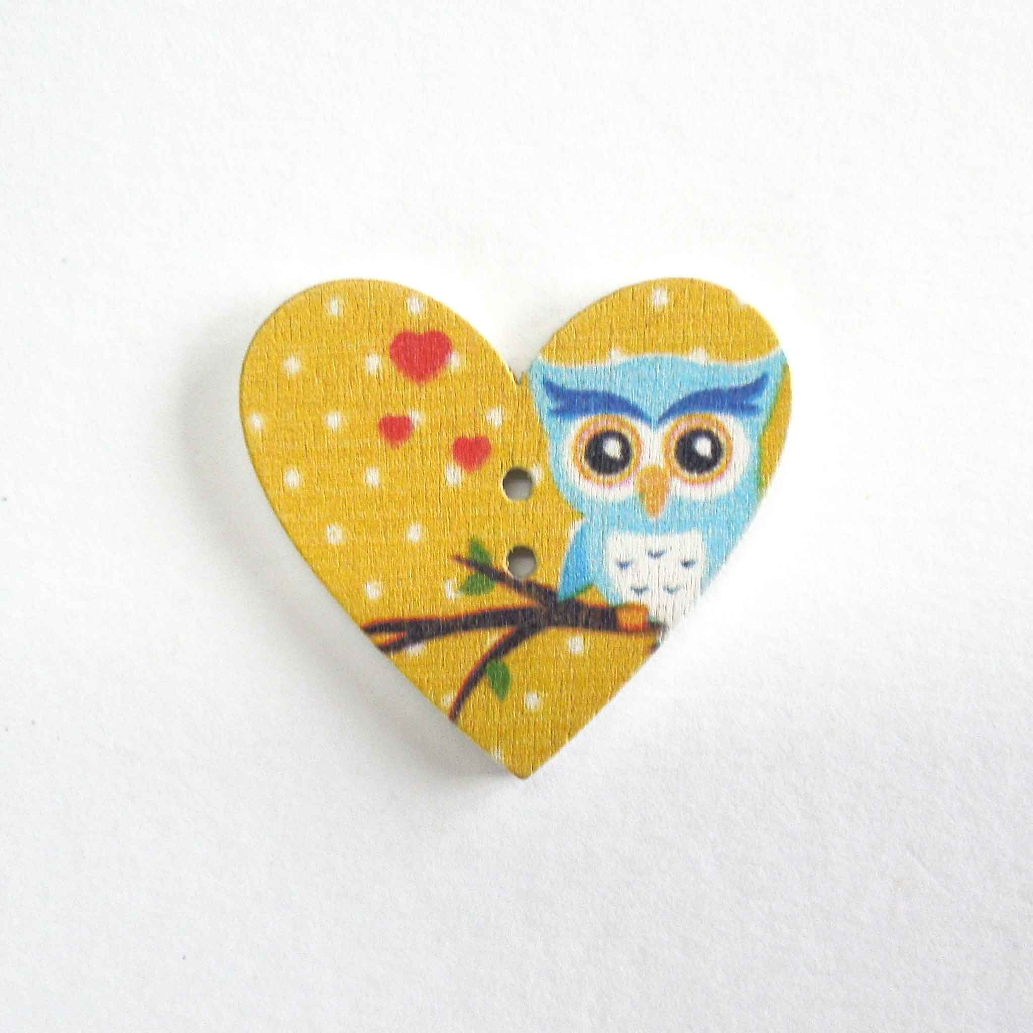 Blue Owl Heart Shaped Wood Buttons, 2 Holes, Pack of 3 Buttons