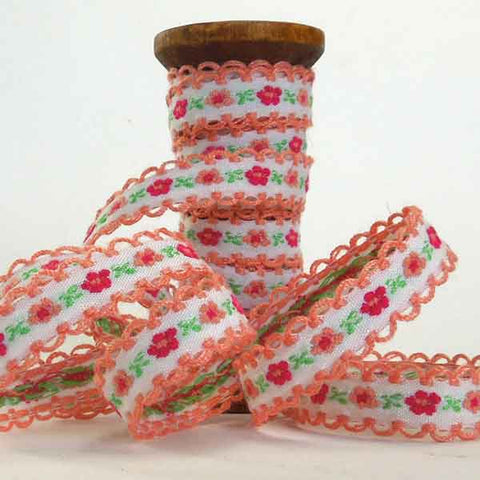 10 mm Orange and White Flower Ribbon on Wooden Spool, 2 Metres