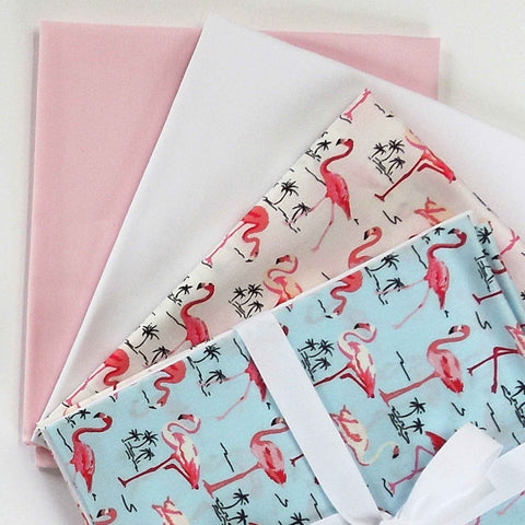 Fat Quarter Pack, Blue and White Flamingo Fat Quarter Bundle by Rose & Hubble, 4 Cotton Fat Quarters - Fabric and Ribbon