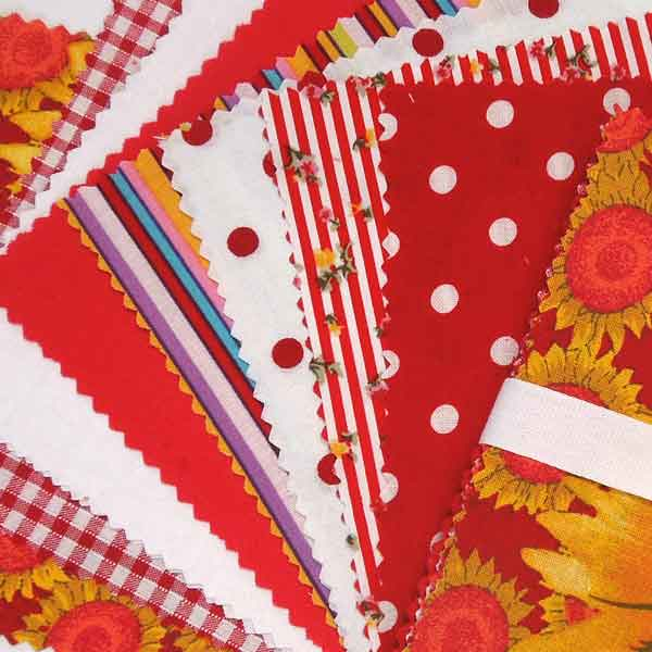 Red Patchwork Fabric Bundle, Checked Charm Pack, Red Cotton Patchwork Pack - Fabric and Ribbon