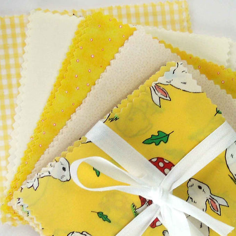 Yellow Rabbit Fabric Pack, Kid's Rabbit Patchwork Bundle