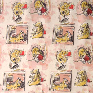 Paddington Bear Squares Cotton Fabric, Kid's Paddington Bear Messing About Fabric - Fabric and Ribbon