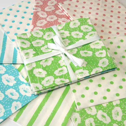 Fat Quarter Pack, Flowers, Stripes and Polka Dot Fat Quarter Bundle, 6 Green, Blue and Pink Patterned Fat Quarters - Fabric and Ribbon