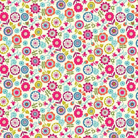 Cotton fabric with flower design by Makower