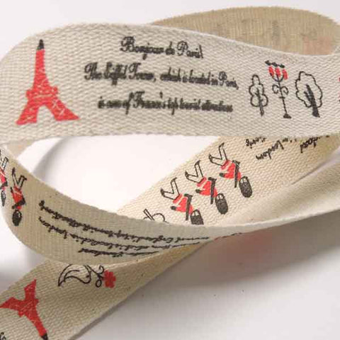 20 mm London and Paris Icons Cotton Ribbon, 3/4 inch Red and Black Travel Icons Cotton Tape
